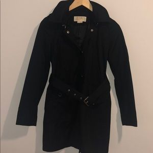 Michael Kors Unlined Black Trench Coat with Hood